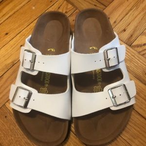 White Arizona Birkenstock sandals